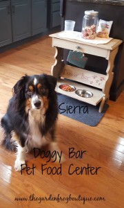 Transform an old wooden magazine rack in to a pet food center