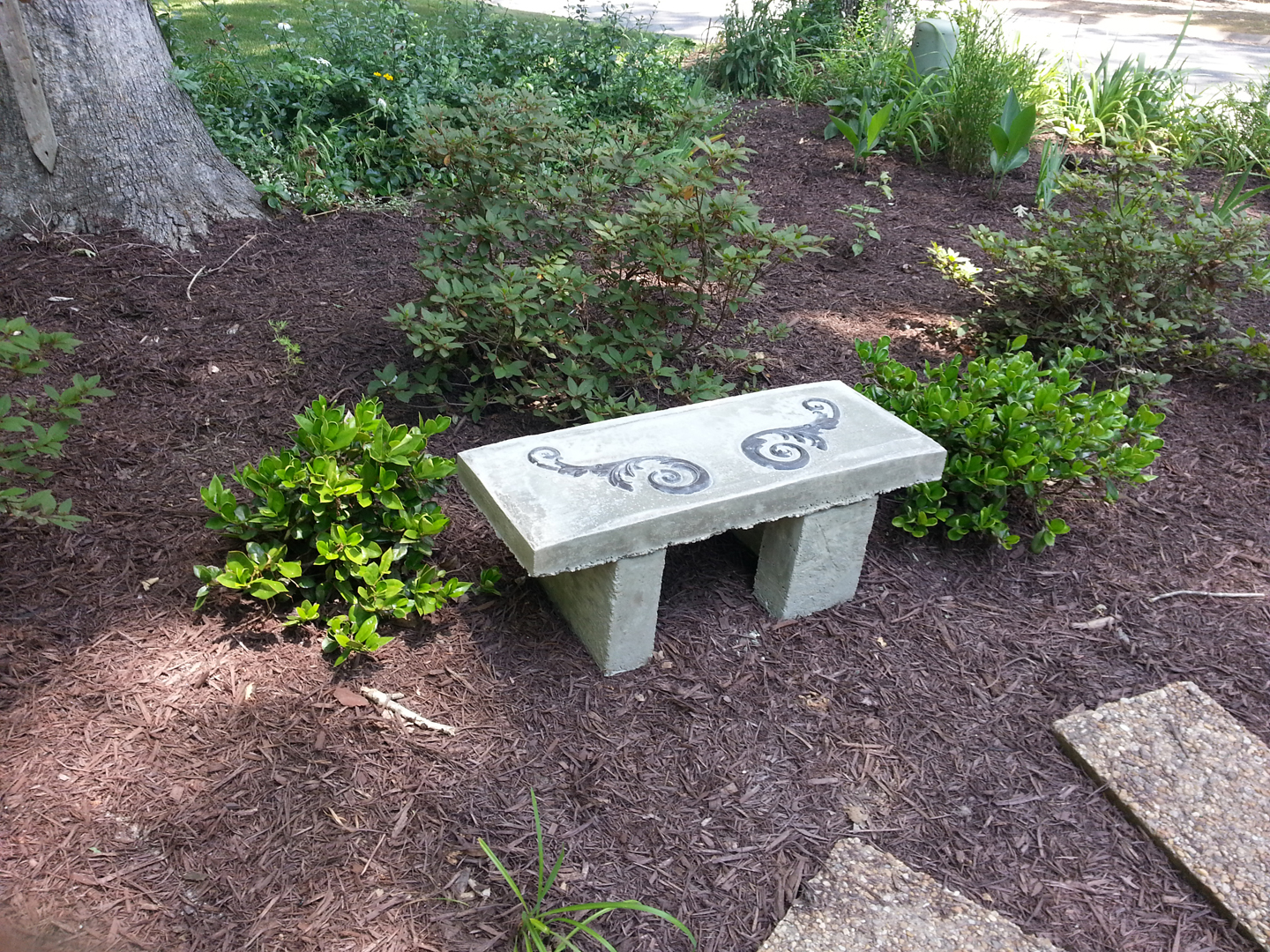concrete bench, handmade concrete bench