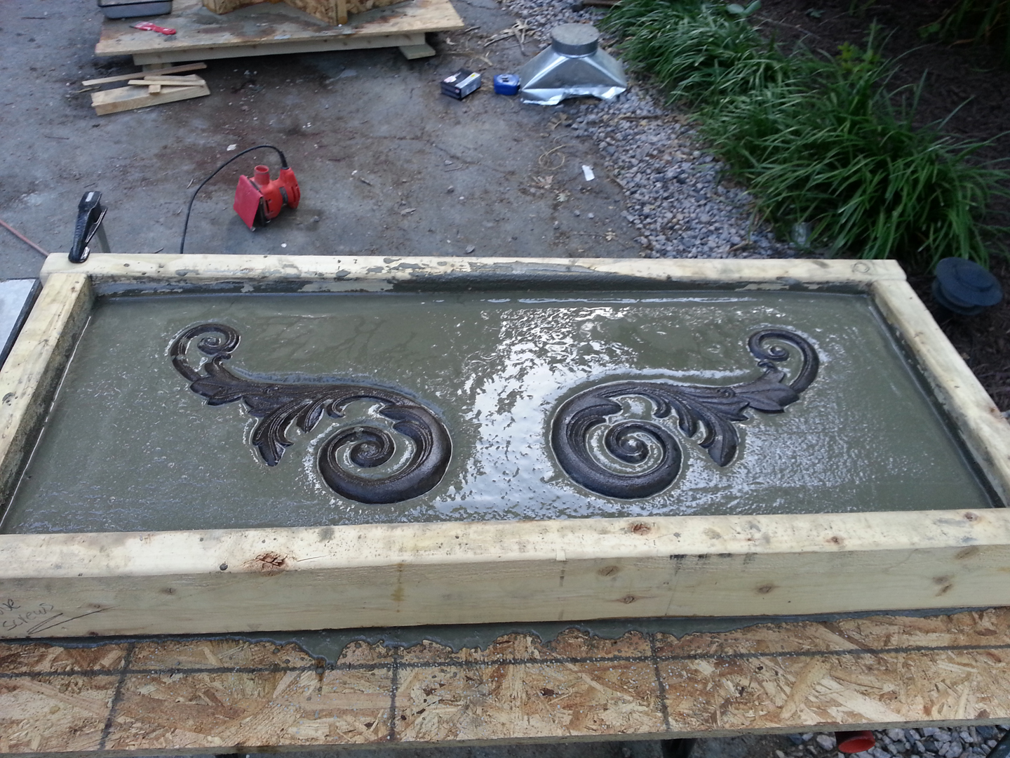 concrete garden bench top