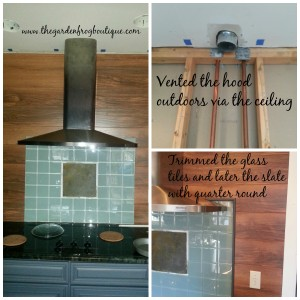 $10 Kitchen Backsplash with glass tiles, and wood flooring