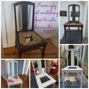 Painting a dining room chair, chalk paint a dining room chair and using fabric as a seat cover