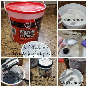 Homemade Chalk Paint recipe with Plaster of Paris