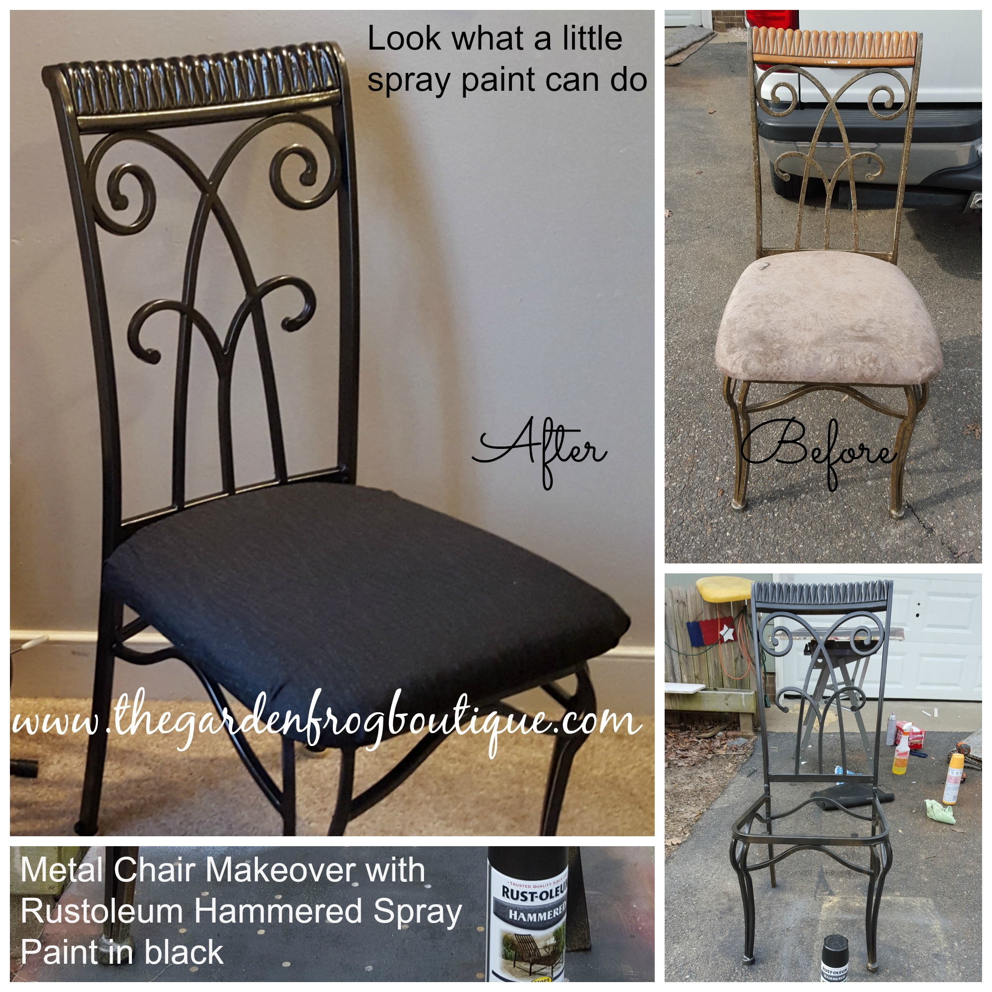 metal chair makeover with rustoleum hammered spray paint the garden. Black Bedroom Furniture Sets. Home Design Ideas