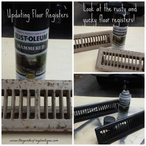 Update your ugly rusty floor registers with Rustoleum's Hammered spray paint