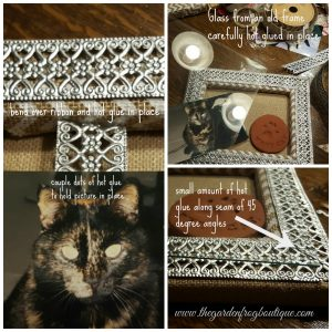 Create a pet memorial shadowbox from a stretched burlap frame